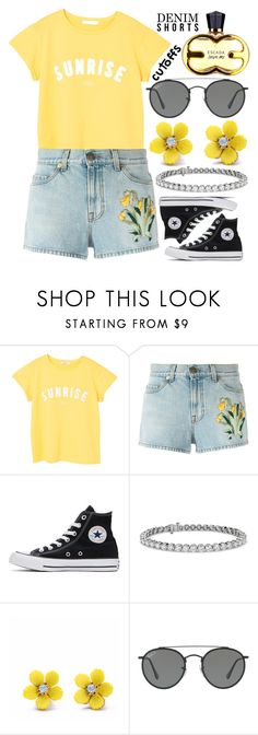 """Denim Cutoffs"" by deedee-pekarik ❤ liked on Polyvore featuring MANGO, Gucci, Converse, Blue Nile, WithChic and Ray-Ban"