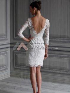 Scoop Tight Lacy Short Wedding Dress MLML0040