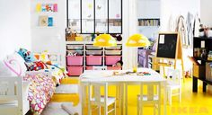 Kids Bedroom: 10 of The Most Cool Ikea Kids Room Design, Cheerful Yellow and White Kids Playroom from IKEA Catalog 2013