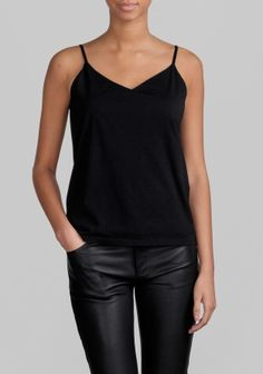 A soft jersey top with thin straps and a loose, comfortable fit.