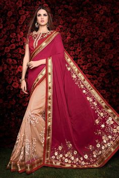 #Andaazfashion Présente Pink Cream georgette sari avec chemisier en soie d'art   http://www.andaazfashion.fr/womens/sarees/cream-pink-georgette-saree-with-art-silk-blouse-dmv8462-23846.html