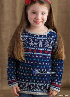 Детский пуловер спицами жаккардовым узором (2) (466x645, 230Kb)