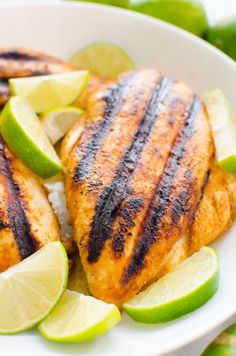 Flavorful Mexican Chili Lime Chicken in as little as 30 minutes. Bake, grill or fry and use in tacos, salads or fajitas year round. This chicken recipe stays moist and tender from a lime, chili powder and cumin marinade that gives it the best taste. Healthy Grilling Recipes, Healthy Family Meals, Healthy Eating Recipes, Healthy Chicken Recipes, Cooking Recipes, Family Recipes, Ww Recipes, Mexican Recipes, Lime Marinade For Chicken