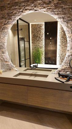 Home Room Design, Dream Home Design, Home Interior Design, Bathroom Design Luxury, Modern Bathroom Design, Modern Large Bathrooms, Modern Bathroom Mirrors, Industrial Bathroom, Bathroom Designs