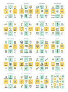 A big download package of flat line illustrations, graphics, and icons. Look at this stylish collection of flat line illustrations, graphics, and icons cre