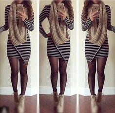 This striped asymmetric bodycon dress features an asymmetrical hem with long sleeves and round neckline. Fall Winter Outfits, Autumn Winter Fashion, Stylish Dresses, Cute Dresses, Dresses Dresses, Look Fashion, Fashion Outfits, Fashion 2015, Fashion Clothes