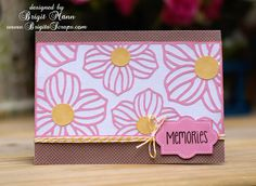 Pink and brown flower card, svg cuts