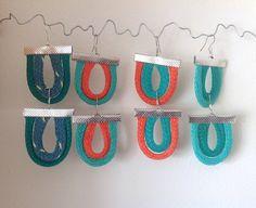 Items similar to Earrings Fishing Net Rope Beach Seaside Nautical Double Loops on Etsy Fishnet, Seaside, Nautical, Crochet Earrings, My Etsy Shop, Turquoise, Beach, Crafts, Handmade