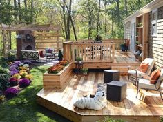 Multi-Level Deck. Just a beautiful backyard setting