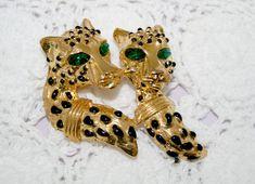 Vintage Brooch Alexis Kirk Designer Pin Dual Head Studded Tiger Unsigned
