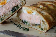 Kulibiak o pastel ruso de salmón