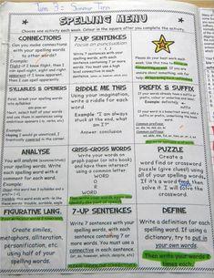 Spelling Menu- Key Stage Two Spelling Menu, Spelling Homework, Spelling And Handwriting, Spelling Words, Spelling Ideas, Spelling Practice, 4th Grade Ela, Exam Papers
