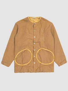 Tender Linen Type 944 Folded Morning Coat in Ochre English Woven Cotton Canvas Pigment Dyed with Yellow Ochre Round Facing Folded Pockets Real Shell Daks Buttons Made in England
