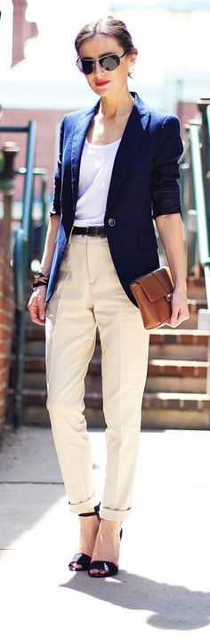 Street style navy blazer and cream trousers.