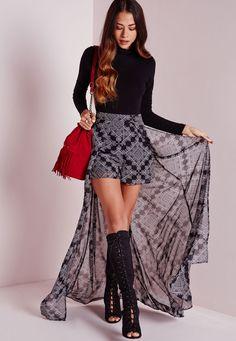 Missguided - Short/jupe longue noire imprimé cachemire