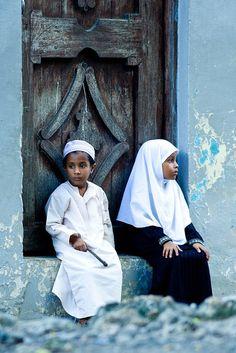 Young muslim children in Lamu along the Kenyan Coast