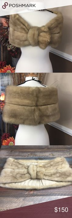 🛍🌷🛍 VINTAGE MINK STOLE/SHAWL Beautiful condition!! Was my mothers , as you can see it has her name embroidered in it. I would say all it needs is a good cleaning and you may want to change the lining.. but all in all it's in perfect condition. Other