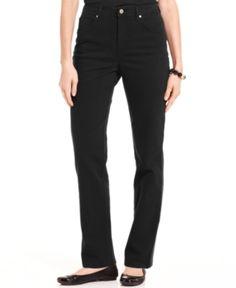 Charter Club Jeans, Tummy-Control Straight Leg, Black Wash