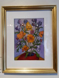 """""""California Poppies"""" - acrylic painting on glass"""