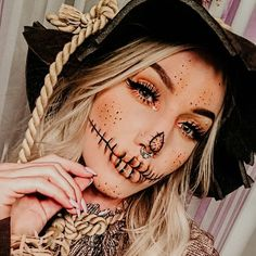 Skeleton Face Makeup Tutorial Which Is Bound To Turn Heads This Halloween Scarecrow Halloween Makeup, Amazing Halloween Makeup, Halloween Eyes, Halloween Makeup Looks, Scarecrow Costume, Halloween Costumes, Tutu Costumes, Halloween Contacts, Fairy Costumes