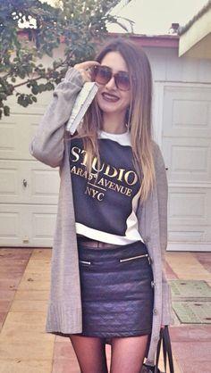 Leather skirt grey cardigan