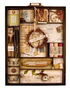 wow elements - love the magnifying glass, hanging buttons, bottle, grapevine wreath