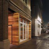 AVEC restaurant - modern box inserted into historic storefront - LOVE it!