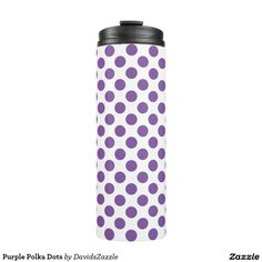 Purple Polka Dots Thermal Tumbler This design is available on many products! Click the link and hit the 'Available On' tab near the product description to see them all! Thanks for looking!  @zazzle #art #design #polka #dots #water #bottle #drink #sport #athletic #color #circles #shop #gift #buy #sale #men #women #kids #black #white #red #yellow #blue #orange #green #purple #pink #aqua #fun #sweet #cool #awesome