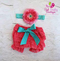 Baby Lace Bloomer Set Newborn Headband and от Pinkpaisleybowtique