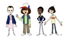 Stranger Things - Eleven, Dustin, Lucas, and Mike