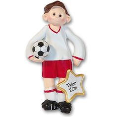 RESIN  Soccer Player Boy  Personalized Christmas Ornament