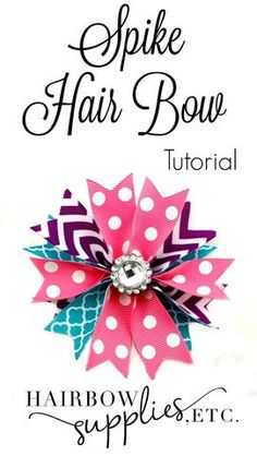 DIY spike hair bow with grosgrain ribbon. How to make hair bows for little girls… DIY spike hair bow with grosgrain ribbon. How to make hair bows for little girls! This spiked hair bow tutorial is a perfect way to coordinate ribbons for your little girl's Diy Hair Bows, Making Hair Bows, Ribbon Hair Bows, Diy Bow, Ribbon Barrettes, Bow Making, How To Make Hair, How To Make Bows, Homemade Bows