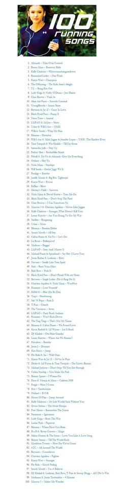 100 Running Songs-- or just songs to just workout to :-)