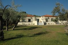 View of the building( Gera's Olive Grove ESTATE) Olive Tree, Lodges, Acre, Natural Beauty, Greece, Island, Traditional, Mansions, Landscape