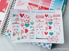 56 Valentines Day themed Stickers Cute Stickers by JLynnPaperCo