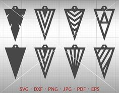 Triangle Earrings Cut Template. Multiple file format perfect for banners, invitation, clip art, scrapbooking, card making, heat transfer print, party accessories and all your crafting. Commercial use not limited. * This Download Includes ************************ 1 EPS files (grouped