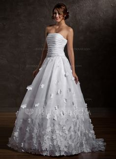 Wedding Dresses - $232.99 - Ball-Gown Strapless Sweep Train Organza Wedding Dress With Ruffle Flower(s) (002011567) http://jjshouse.com/Ball-Gown-Strapless-Sweep-Train-Organza-Wedding-Dress-With-Ruffle-Flower-S-002011567-g11567