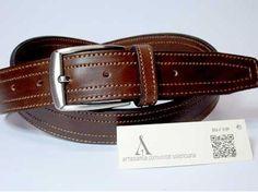 #Cinturón #piel para hombre hecho a mano. Clica para ver más.