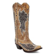 Corral Wing Cowboy Boot ($228) ❤ liked on Polyvore featuring shoes, boots, brown, corral boots, tall cowgirl boots, winged shoes, embroidered cowgirl boots and cowboy boots