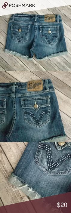 """Vigoss Studio Cuffed Shorts Cut off, cuffed, and destructed jean shorts in great used condition.  Waist 15"""" laying flat. Rise 7 3/4"""". Inseam 3 1/2"""". Vigoss Shorts Jean Shorts"""