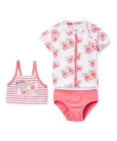 0fab70a3f2779 Sol Swim Coral Hyacinth Zip-Up Rashguard Set - Infant   Toddler