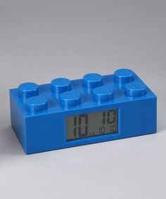 """Blue LEGO Brick Clock: With snooze button and volume control. Measures 7.5 x 2.5 x 4"""". Also available in red and yellow. On sale $17.99 #LEGO_Clock #Clock"""