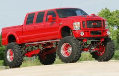 ford monster trucks | ... ridonkulous 2005 Ford F250 Red truck - Bodybuilding.com Forums