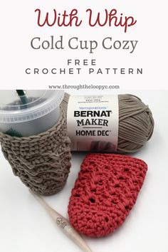 With Whip Cold Cup Cozy Free Crochet Pattern perfect for those summertime drinks! Crochet Coffee Cozy, Crochet Cozy, Crochet Dishcloths, Free Crochet, Cozy Knit, Crochet Gifts, Crochet Granny, Hand Crochet, Coffee Sleeve
