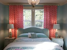 love color scheme, bed in front of window, small room, odd nightstands, guest room, not crazy about lamps