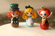 Items similar to Alice in Wonderland doll Queen of hearts Mad Hatter on Etsy Polymer Clay Princess, Cute Polymer Clay, Fimo Clay, Polymer Clay Charms, Clay Crafts, Fun Crafts, Alice In Wonderland Doll, Wonderland Party, Custom Wedding Cake Toppers