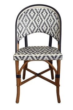 "FRENCH BISTRO SIDE CHAIR ITEM HK-140 Dimensions: 18 1/4""Wide x 19 1/2""Deep x 34 1/4""High Seat Height 17 3/4"" ​ Weave: Lozenge Primary Color: Shiny White Secondary Color: Shiny Blue Wood Finish: Light Honey"