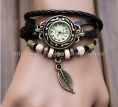 Handmade Vintage Style Leather Band Watches Woman Girl Lady Quartz Wrist Watch Black on Etsy, $9.99