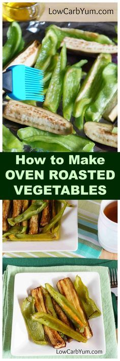 Oven roasting is a fast way to cook up fresh vegetables like eggplant and green peppers. This easy oven roasted vegetables recipe is very quick to prepare. | LowCarbYum.com