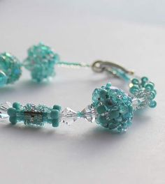 Hand Beaded Aqua Marine and Turquoise Bracelet with by pjlacasse, $65.00